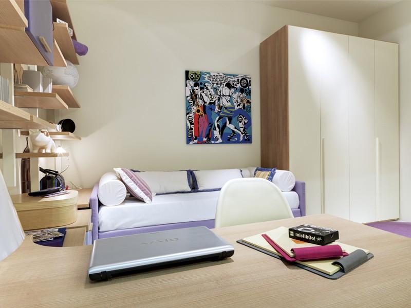 Cameretta con divano letto imbottito mobili catalano - Camera da letto con libreria ...
